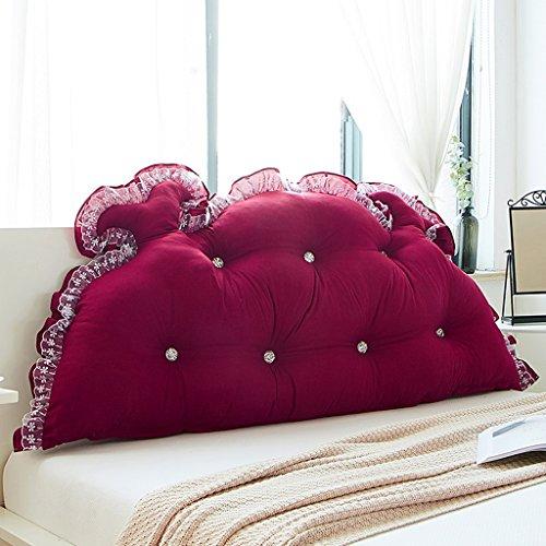 MMM- Chevet Coussin Dossier Lit Princesse Chambre Oreiller Doux Coussin Doux Lavable ( Couleur : Vin rouge , taille : 120cm )