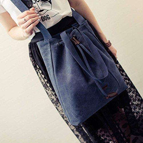 Canvas Unisex Tasche retro literarischen Hochschule Stil Schultertasche Messenger Bag koreanische Version - dunkelblau, one size dunkelblau