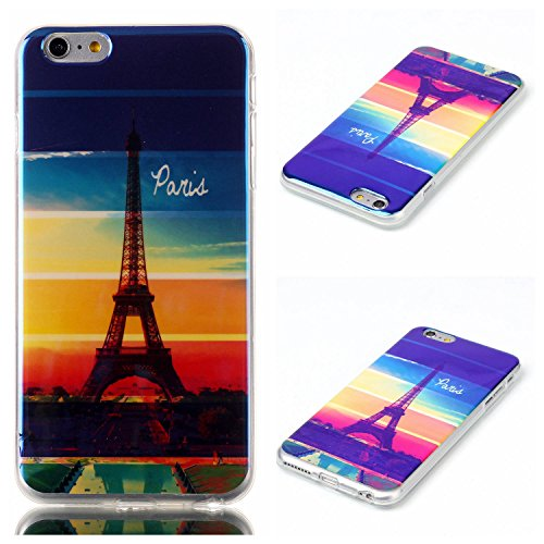 iPhone 6 Plus/6s Plus Funda Silicona, iPhone 6 Plus/6s Plus Funda Slim, M. jvisun carcasa TPU flexible suave caucho de silicona Carcasa de Gel Skin Perfect Fit – Carcasa para Apple iPhone 6 Plus/iPhone 6s Plus, D-Rainbow Eiffel Tower Top Selling Hi-Q Nice Cover, For iPhone 6 Plus / iPhone 6S Plus (5.5 Inch)