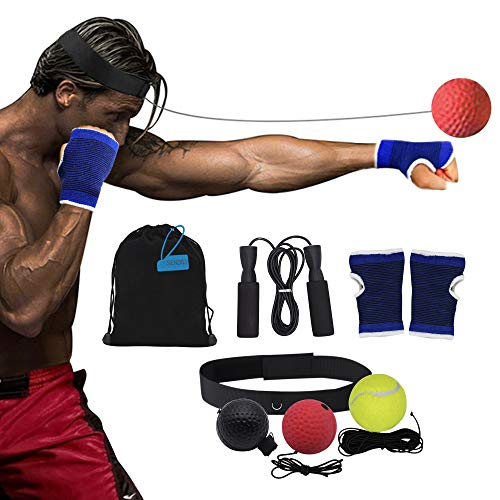 SENDILI Boxen Training Ball - Tennis Trainingsball mit Schnur Punch Boxing Ball mit Kopfband Springseil Kordelzug Aufbewahrungstasche, 8 Stück Anzug - Punch Herz Halten