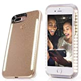Selfie light iPhone case,Rasse®Selfie Light Case for 4.7 inch Iphone 6 6s 7 Cover with Front and Back LED Rechargeable Backup(gold)