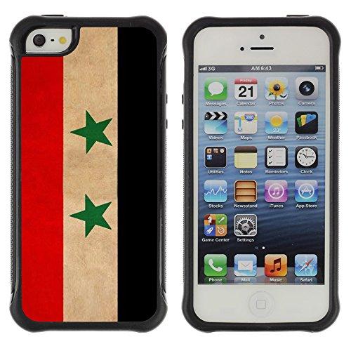Graphic4You Vintage Uralt Flagge Von Iran Iraner Design Shockproof Anti-Rutsch Weichen Hülle Case Tasche Schutzhülle für Apple iPhone SE / 5 / 5S Drapeau Syrien Syrie