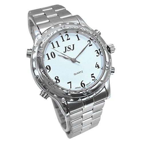 Sprechende Uhren Für Blinde (Deutsch Sprechende Armbanduhr VoiceTime Edelstahl mit Analog- Ziffernblatt für Blinde,für Sehbehinderte)