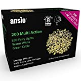 from ANSIO Fairy Lights 200 LED Warm White Outdoor Christmas Lights String Lights 8 Functions 20m/65ft Lit Length with 3m/10ft Lead Wire - Power Operated LED Fairy Lights - GREEN CABLE- INDOOR & OUTDOOR Use