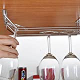 #3: Alcoa Prime 2-Rows Stainless Steel Wine Goblet Holder bar Hanging Upside Rack Small EMS DHL Shipping Mail