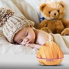 Liqoo® Humidificador Purificador del Aire Lámpara de Aroma Difusor de Niebla 400ml 7 Colores Conmutables de la Luz Aceite Esencial Ultrasónico Aromaterapia para el balneario, yoga, dormitorio, bebé, hogar, oficina