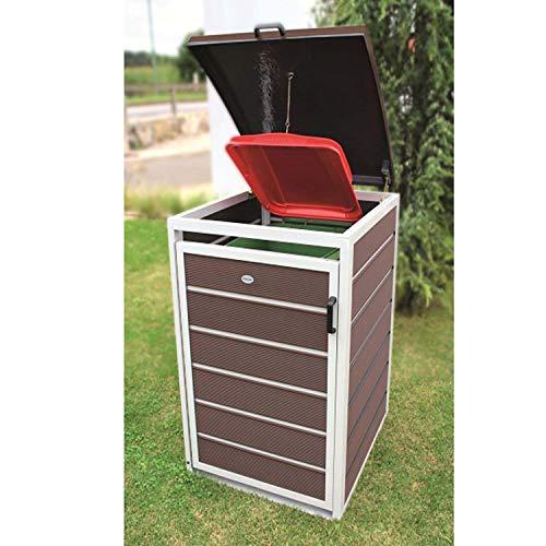 Prewood WPC Mülltonnenbox, Mülltonnenverkleidung für 1x 240l Mülltonne braun // 86x76x127 cm (LxBxH) // Gerätebox, Gartenbox & Mülltonneneinhausung - 4