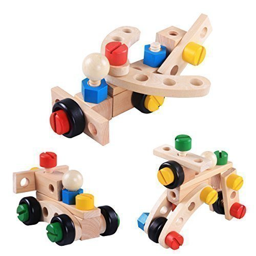 Wooden Building Toy. Large chunky colour nuts & bolts engineering builders, construction buildings toys for boys and girls. Preschool kids educational games, learning resources 30 piece construction builders set for children activities.