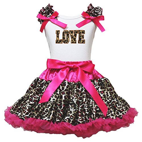 Kleidung Panther Pink (Hot Pink Leopard Tutu, Pettiskirt Panther Love Shirt Girl Kleidung Outfit Set – 74 bis 122 Gr. Medium, rose)