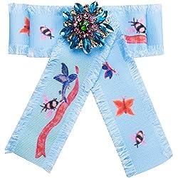 Namgiy - Broche de Lazo para el Cuello con Insignia de joyería para decoración de Ropa, Recuerdo de Fiesta, Mujeres y niñas, 15,7 cm x 14,3 cm, Azul, 15.7cm*14.3cm