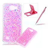 Rubber TPU Case For LG K4,Herzzer Ultra Thin Slim Lightweight Color Changing Glittering Luxury Unique [Pink Sequins] Bling Bling Shiny Sparkle Soft Silicone Gel Clear Bumper Frame Cover for LG K4 + 1 x Free Pink Cellphone Kickstand + 1 x Free Pink Stylus Pen