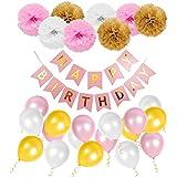 Geburtstag Dekoration Set Happy Birthday, Mädchen Geburtstagsparty Girlande Luftballons Pom Poms Papierblume Rosa für Mädchen -- Von WonderforU