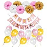 Geburtstag Dekoration Set Happy Birthday, Mädchen Geburtstagsparty Girlande Luftballons Pom Poms Papierblume Rosa für Mädchen