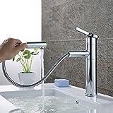 Homelody 360° drehbar Wasserhahn Bad mit Ausziehbar Brause Waschtischarmatur Waschbeckenarmatur Badarmatur Waschtisch Waschbecken Armatur für Badezimmer