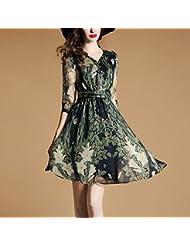 Women'S Dress Été, L'Europe Et Les États - Unis Taille Women'S / Col Sept Points L'Imitation De La Mousseline De Soie