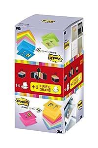 3M R33016 Post-It Z-Notes 16 Blocks 100 Sheets 76 x 76 mm Neon Yellow / Green / Pink / Orange / Pastel Green / Ultra Blue / Retro Blue / Light Blue / Golden Yellow / Pumpkin Orange