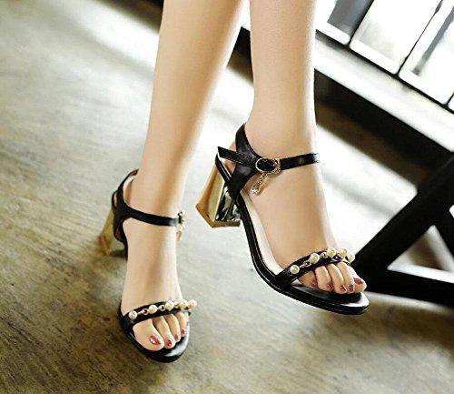 SHIXR Femmes Open-Toed Pumps Pearl sandales ouvert orteil mot chaussures Talon chaussures or argent noir Black