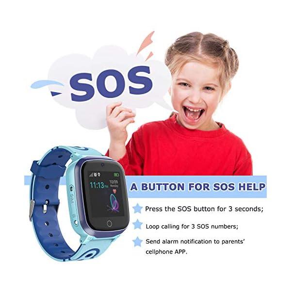 MeritSoar Tech GPS Smartwatch para Niños - WiFi + GPS + LBS Tracker Phone Smart Watch con Contador de Pasos Geo Fence Cámara Calling SOS Chat de Voz Juego para 3-12 Niños Compatible iOS/Android 5