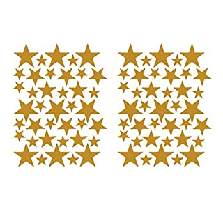 Millya 39PCS Gold Star Shaped Wall Sticker Galaxy Starry Sky Sticky Labels Art Decal Home Decoration for Nursery Bedroom,2PCS