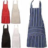 Chefs Apron Professional Quality Blue Butchers Kitchen Cooks Restaurant Bistro BBQ School College Double POCKETS 100%