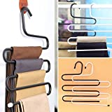 #8: Vastra Premium Quality Metal S-Shape 5 Layers Magic Hanger for Wardrobe, Sarees, Pants, Scarfs & Other Clothes(Set of 3 PCS/Pack)