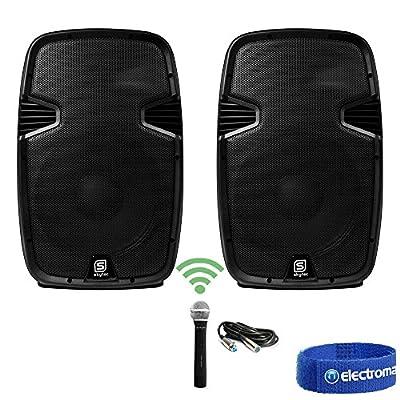 "Electromarket 2x Skytec 15"" Active Speakers Wireless Mics Handheld PA Mobile DJ Karaoke 1600W"
