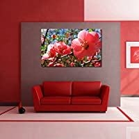 Red Blossom Flowers vinyl Home Decor PVC