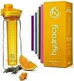 Hydracy Bottiglia con Infusore per Acqua Aromatizzata alla Frutta con Esclusiva Sacca Isolante Antitraspirante - 750ml - Senza BPA - Perfetta per Depurare l'organismo, per Gli e per Sport - Giallo