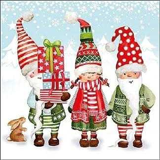 AMB Papel Servilletas Almuerzo/Fiesta/Fijo Aprox. 33x 33cm–GNOME City–Otoño–Invierno–Navidad–Ideal como Regalo y Mesa decoración