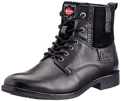 Lee Cooper Men's Black Leather Boots - 10UK/India (44 EU)
