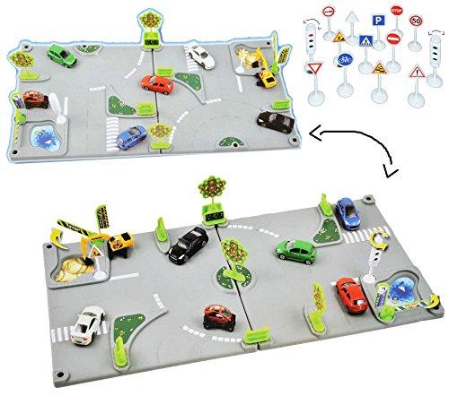 Unbekannt Komplettset: 3-D Spielmatte Straße - 2 Teile mit Kreisverkehr - 1/64 - Baustelle - Ampel - Schilder - Straße + Zubehör - für Auto / Fahrzeuge für Kinder zum S.. - Baustelle Matchbox