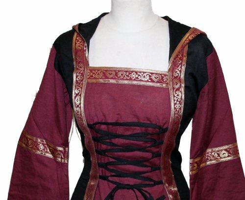 Mittelalterkleid für Kinder Elfenkleid mit Kapuze und Schnürung Schwarz/Bordeaux