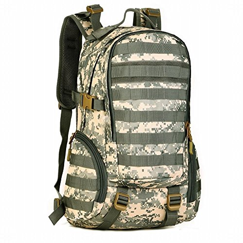 Hung Kai 35l High Density Nylon Durable 6 Color Optional Camouflage Pattern Waterproof Seismic Tactical Backpack Outdoor Backpack Military Backpack (Acu T-shirt Digital Camo)