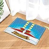 fdswdfg221 Winterfest Dekor Elfs Beine auf verschneiten Nordpol mit Weihnachtssternen Badteppiche Rutschfeste Fußmatte Bodeneinstiege Indoor-Haustürmatte Kinder Badmatte Bad-Accessoires