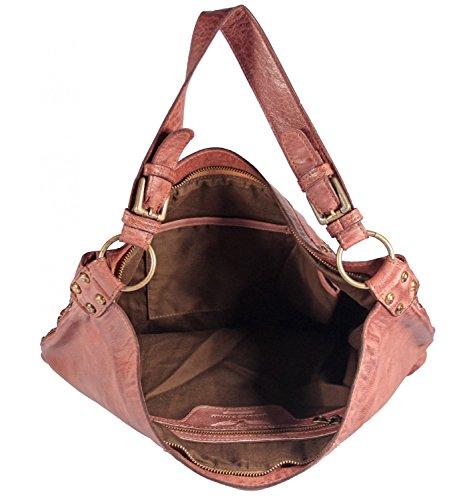 Niazza - Leder Schultertasche Hobobag Used-Look mit Nieten WaffelOptik MEDITERRAN URBAN BAG Damen Handtaschen Shopper Henkeltaschen Beuteltasche 43x34x14 cm (B x H x T), Farbe:grün hellblau