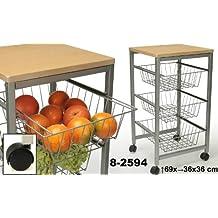Suska - Carro cocina madera suska 1020 - 8259420 - carro de cocina con bandejas(69x36x36cm)