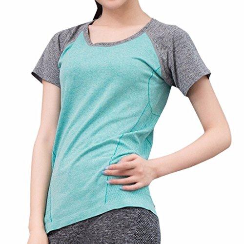 QIYUN.Z Le Sport De Sante Manches Courtes T-Shirts Femmes Sportives Salle De Gym Yoga Run Respirant T-Shirts Bleu Ciel