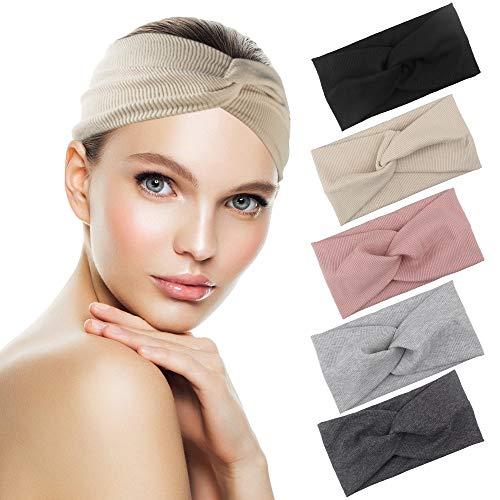 5 Stück Haarband Damen Kopftuch Kopfband Stirnband mit Schleife aus Baumwolle Knoten Haarbänder