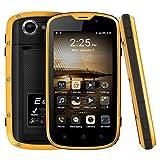 E & L W5 IP68 Wasserdicht Staubdicht Shockpproof 4.0 Zoll Handy Android 6.0 MT6735 Quad Core 1GB RAM 8GB ROM 5.0MP 4G FDD LTE 2800mAh 4.0 '' Smartphone (Gelb)