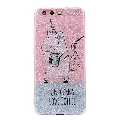 Preisvergleich Produktbild Huawei P10 Hülle, Chreey Glitzer Handyhülle Niedlich Mode Süß Temperament Muster Weiche TPU Silikonhülle Skin Case Ultra Dünn Kratzfest Hülle Backcover [Einhorn-Unicorns love coffee]