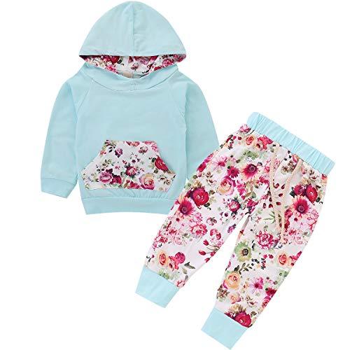 (Anywow Säugling Baby Mädchen Langarm Blumen Hoodie Tops Jumper Sweatshirt Kleidung + Lange Hosen Hosen Kleinkind Kleidung Set 2 stücke 0-24 Monate)