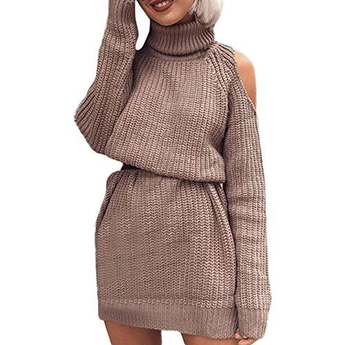 Dorical Damen Winter Pullover Hoher Kragen Volltonfarbe Sexy Trägerlosen Rock Taille Strick Pullover Clearance