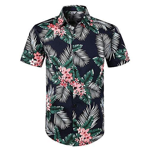 VJGOAL Hombres Camisa Estampado Floral Hawaiana botón