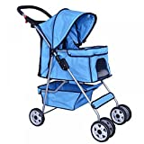 New Blue 4 Wheels Pet Stroller Cat Dog Cage Stroller Travel Folding Carrier