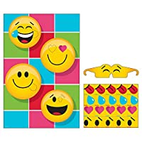 Party Central Pack of 6 Yellow and Black Show Your Emoji Themed Pin Game 10.75""