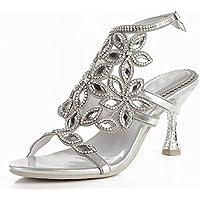 GAIHU mujer parte señoras Diamante artesanales noche nupcial boda sandalias de tacón medio Dreamgirl tiras Prom