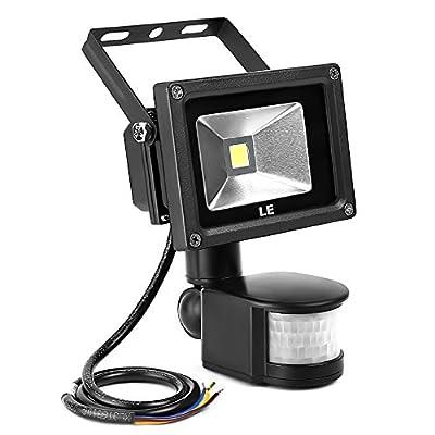 LE® 10W Motion Sensor Light, LED Flood Lights, 100W Halogen Lights Equivalent, Waterproof, Daylight White, Waterproof LED Security Light, High Output 700lm, PIR Floodlight