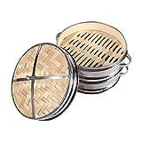 2 Strati Cestello In Bambù Vaporizzatore Cuocivapore-Cestello Con Coperchio Dim Sum Cinese Vaporetti Cibo Cuocivapore Bamboo Steamer 8' immagine