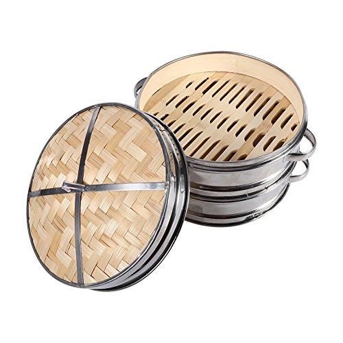 2 Strati Cestello In Bambù Vaporizzatore Cuocivapore-Cestello
