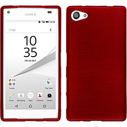 Coque en Silicone pour Sony Xperia Z5 Compact - brushed rouge - Cover PhoneNatic Cubierta + films de protection